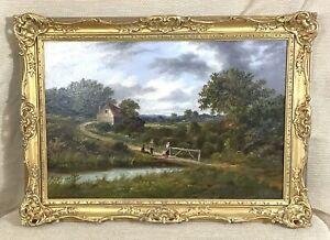 1878 Antik Ölgemälde Britisch Alt Master Landschaft Edward Alfred Atkyns