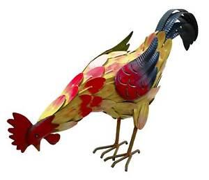 Hand Painted Rooster Chicken Metal Garden Sculpture Ornament