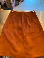 Ladies Next Petite Tan Suede Look Skirt Size 8