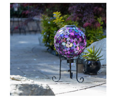 Alpine Corporation Solar Gazing Globe with Led Lights - Mosaic Sphere with Stand