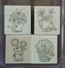 Stampin' Up A FLOWER FOR ALL SEASONS Set 4 Wood Mounted Rubber Stamps Frog Bird