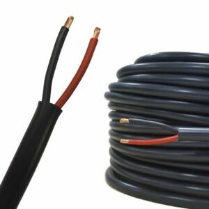 2 CORE ROUND TWIN FLEX 12v RED BLACK ELECTRICAL AUTO CAR AUTOMOTIVE CABLE WIRE