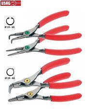 Serie di 4 pinze per anelli elastici USAG 127N/SE4 per seeger ESTERNI E INTERNI