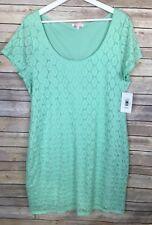Isaac Mizrahi XXL NWT Mint Lace Shift Dress Shirt Sleeve Scoop Neck MSRP $98