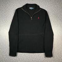 RALPH LAUREN POLO Mens Half Zip Jumper Medium   Sweater Henley Black