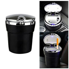 New LED Portable Auto Car Cigarette Ashtray Smokeless Cylinder Cup Holder Black