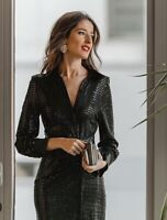 Zara Sparkly Gathered Shirt Dress Bloggers Fave Size M Sold Out BNWT