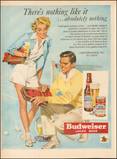 1946 vintage ad for Budweiser Lager Beer Art Tennis Couple Glass Bottle  090717
