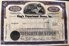 King's Department Stores Inc stock cetificate state of Delaware 100 shares 1960s