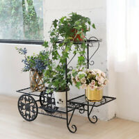 New White Black Metal Plant Stand Garden Decor Flower Pot Shelves Outdoor Indoor