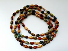 """Vintage Murano Glass Scottish Moss Agate Bead Necklace Flapper 52"""""""