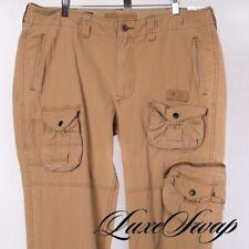 Polo Ralph Lauren Khaki Tan Military Twill Cargo Pocket Flight Pants Trousers 38