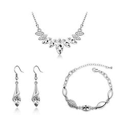 Weiß Braut Silber Diamant Kristall Set Ohrhänger Armband Halskette S943