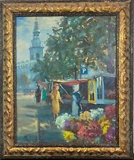 VTG Signed Lively Marketplace Impressionist Cityscape Street Seller Oil Painting