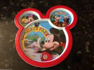 Plate Micky Mouse shaped 3 Section Red Mickey Goofy Minnie Mickey Park Disney