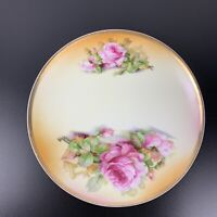 A&C Bavaria Roses Plate Signed  Hand Painted  8.5 In Antique Vintage  MINT.