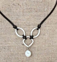 SILPADA .925 Sterling Silver Pearl Leather Necklace N1257 RETIRED RARE Hammered