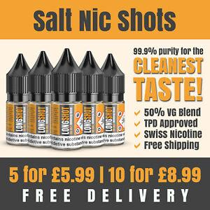 SALT Nic Shots | 10ml | 20mg | 50VG | Premium Swiss Nicotine | Made in the UK