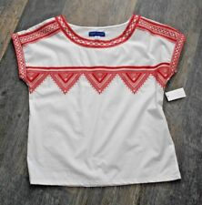 Simply Styled Embroidered White/ Coral  Cap Sleeve Women's Small New