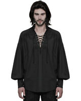 Punk Rave Mens Steampunk Pirate Shirt Top Black Gothic Poet VTG Medieval Lace Up
