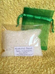 Dead Sea & Epsom Salt PEPPERMINT Oil Foot Spa or Bath COOL & REFRESHING 80g