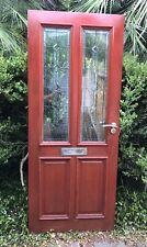 English Hq Mahogany Entry Door leaded glass Mortise Tenon Construction Heavy