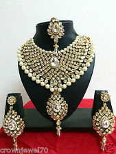 Indian Bollywood Style Gold Plated Plated Bridal Fashion Jewelry Necklace Set