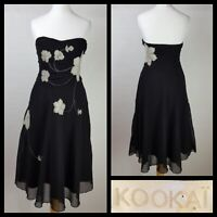 Kookai Black Grey Floaty Chiffon Strapless Fit And Flare Dress Size UK 8 FR 36