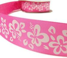"""2 Yds Pink White Hibiscus Tropical Flower Ribbon 1 1/2""""W"""