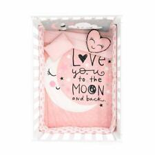 Crib Comforter Set Bedding Gift Nursery Stars 6 Pieces Pink Moon Girl