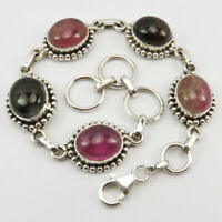 """Solid Sterling Silver Natural Oval Tourmaline Bracelet 7.8"""" Wholesale Jewelry"""
