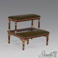 L40833: NEW ~ Regency Style Carved Mahogany Bed Steps with gold Details