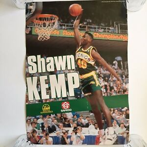 1990 Shawn Kemp Slam Dunk Seattle Supersonics Poster Rare 24 x 14