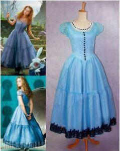Alice In Wonderland Tim Burton Blue Dress Cosplay Costume Christmas Halloween