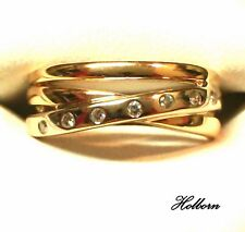18ct Gold and Diamond, Tri-Band Crossover Eternity Ring, Duotone, Size I 1/2.