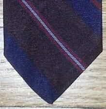 Cravates Guy Laroche Tie Navy Blue Brown Red White Diagonal Stripe NIB t197