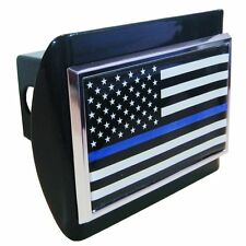 Police Thin Blue Line Black and White American Flag Black Trailer Hitch Cover