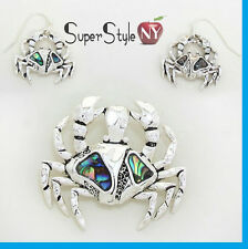 """Abalone Shell Crab Ocean Sea SIlver Pendant Necklace Earrings With 23"""" Chain"""