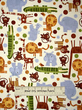 Timeless Treasures Kids Animal Monkey Giraffe Lion Hippo 9936 Cotton Fabric YARD