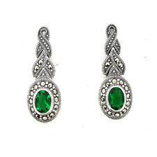 Art Deco Silver Emerald Green Marcasite Earrings