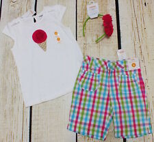 NWT 5T Gymboree Ice Cream Sweetie top, pink blue plaid shorts & headband set