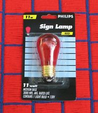 Box of 25 RED transparent Philips 11S14 outdoor sign 11w string LIGHT BULB S14