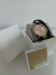 Michael Kors Runway Rose Gold MK2322 Women's Black Leather Quartz Watch