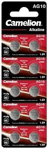 10 Piles AG10 / LR54 / LR1130 / 189 Camelion Alcaline 1,5V