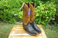 Women's NIB 6.5 B M Justin Pointed Toe Black & Tan Cowboy Dress Boots L4968