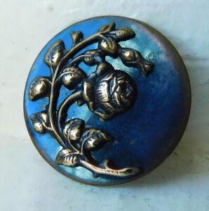 Antique 2 piece brass picture button~beautiful rose~blue tint~26mm