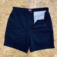 Vintage Tommy Hilfiger Men's Chino Shorts W35 Navy Blue Classic Fit Zip Fly