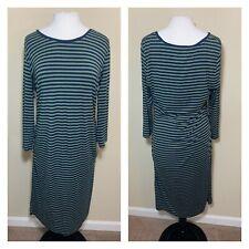 Liz Lange Maternity Size Large Striped Long Sleeve Dress Green/Navy