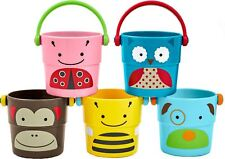 Skip Hop Zoo Stack & Pour Buckets Sensory Bath Play Cups 5 Pack Toddler BNIP