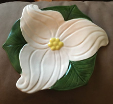 Hand Crafted Ceramic Trullium Themed Dish Brownies Girl Guides Pack Canada 1971